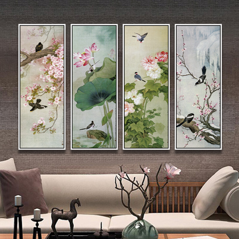 Thin New Chinese decorative painting living room background wall ...