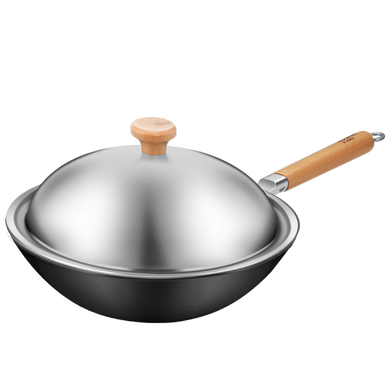 炊大皇 Frying Pan 32cm Uncoated Home Rumbling Fried Iron Pot Stir With Round Bottom Gas Stove Open Fire Using Wok Induction Cooker Is Not