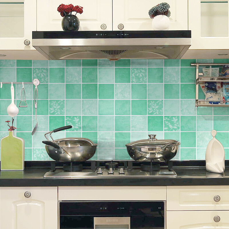 ... (MOWEN) Kitchen Oil Stickers High Temperature Resistant Kitchen Tile  Stickers Waterproof Wall Stickers Range Hood Cabinet Leaves Leaves Green 60cm  Wide ...