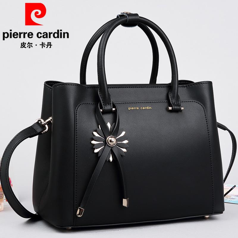 Pierre Cardin Leather Handbag Simple Fashion Elegant Las Bag 2018 New Shoulder Diagonal Large Black