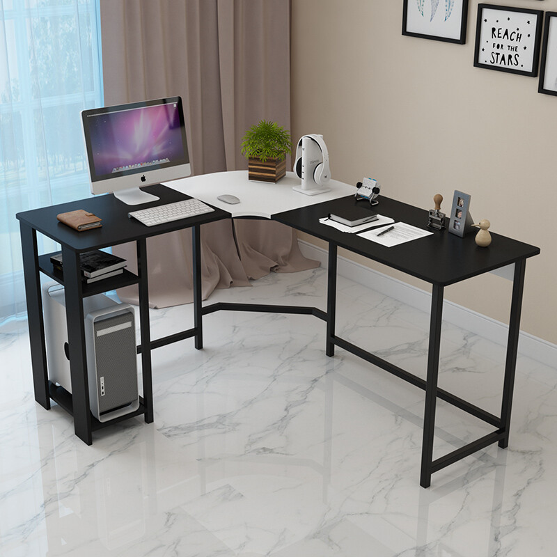 Event Offer Harlowton Corner Computer Desk Home Simple Double Study L Shaped Writing Black With White Assembly