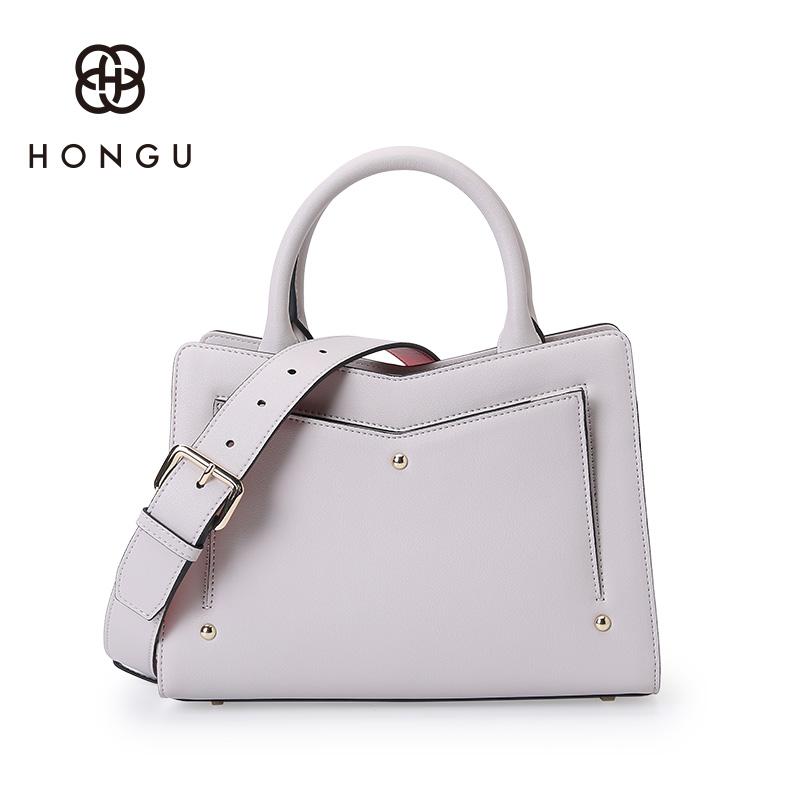 Red Valley Hongu Female Bag Personality Contrast Color Shoulder Leather Handbag Las H5140763 Light Gray