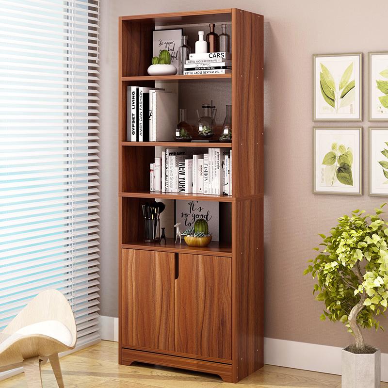 Yijiada Bookcase With Door Bookshelf File Cabinet Combination Locker Ebony Color