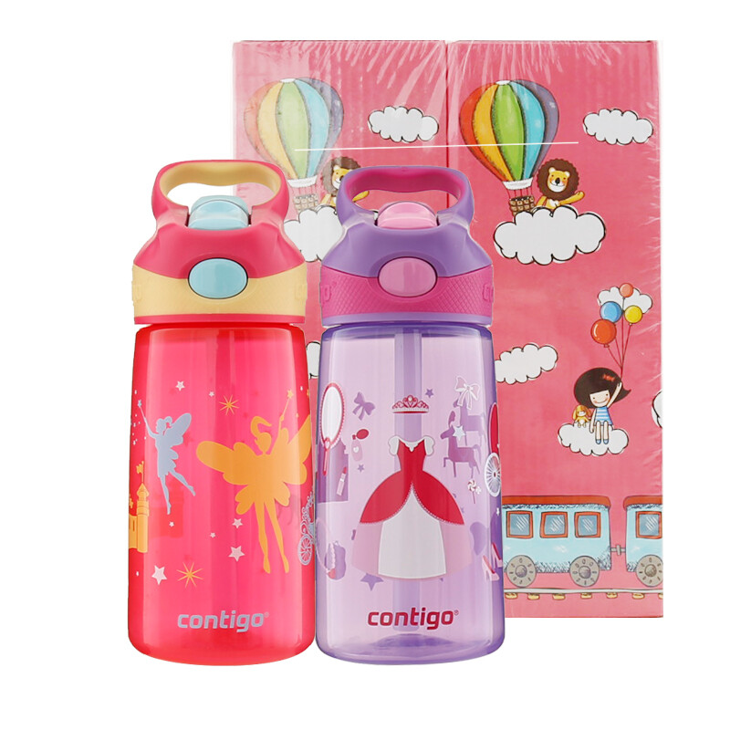 Contigo USA Childrens Cup Student Portable Sports Straw Water Bottle Combination Gift Set 2 Pack Plastic Girl