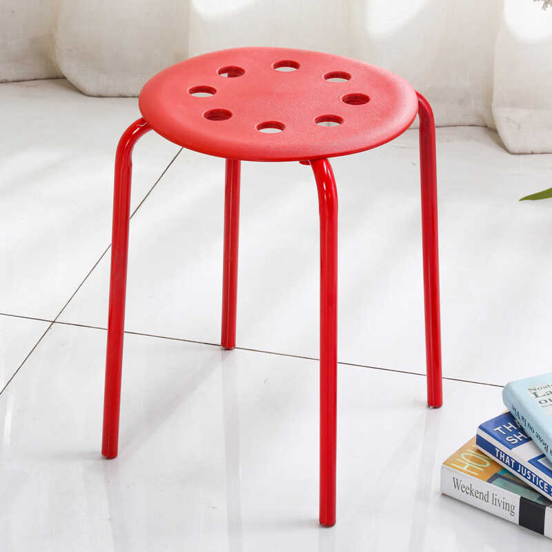 Spring Bird Stool Chair High Stool Simple Fashion Plastic Stool Home Dining  Chair Bathroom Stool Red (Business Delivery)