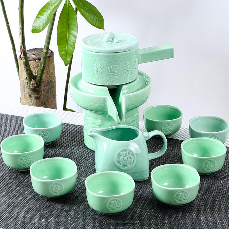 Lazy Tea Set Semi Fully Automatic Creative Stone Sets To Operate Celadon Ceramic Ceremony Teapot Teacup Fair Cup Kung Fu Home