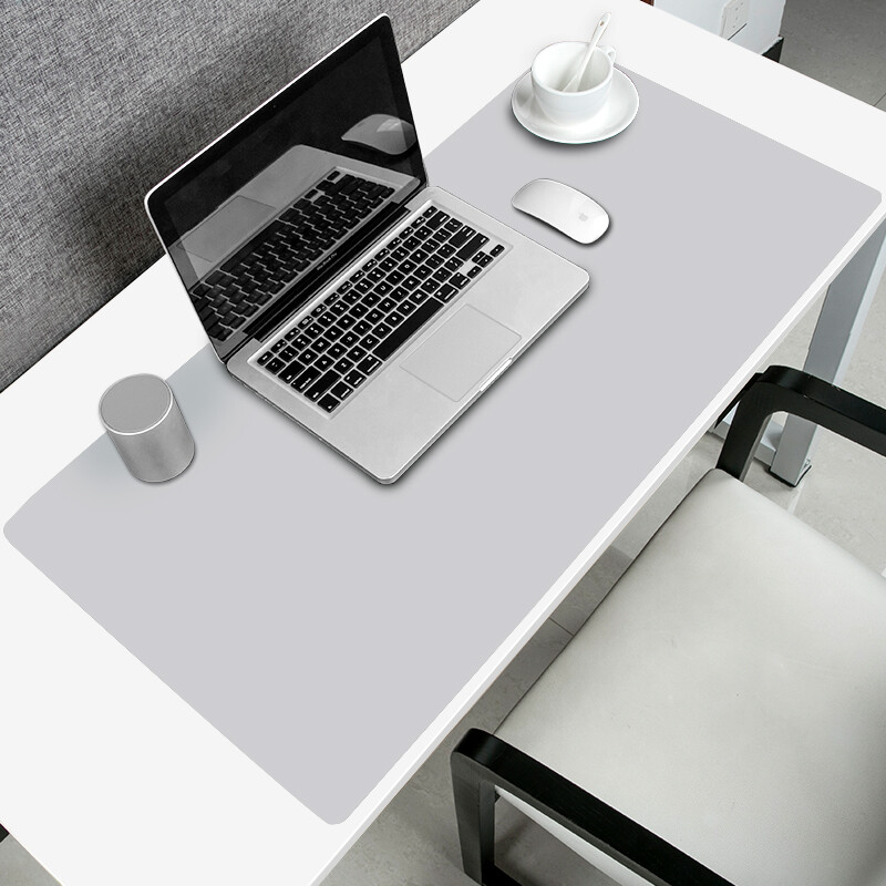 Cool Element Kuyuansu Mouse Pad Writing Computer Desk Oversized Leather Executive Desktop Waterproof Work Mat 90cmx40cm Light Gray