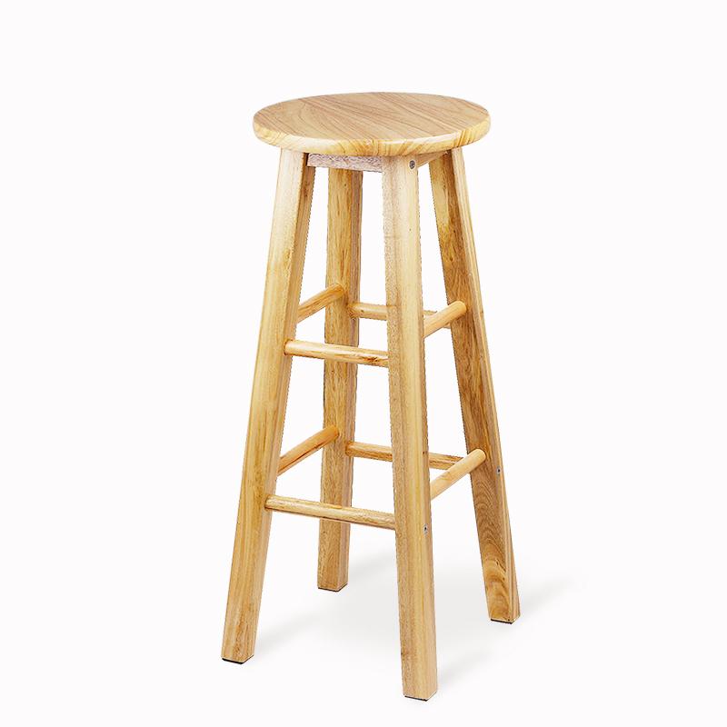 Cool Shark Solid Wood Bar Stool Simple High Chair Bar Stool High Stool Bar  Oak Step Ladder Reinforcement Version 80cm