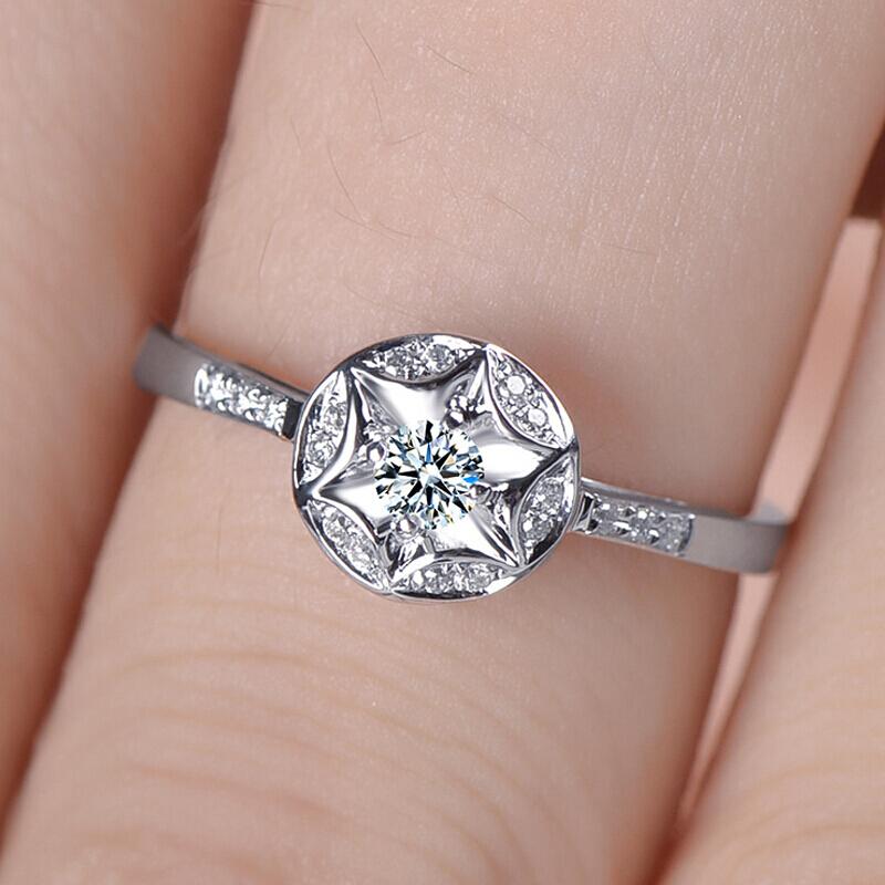 Permanent Star Queen Diamond Ring Female Wedding 18k12 16 Si Ij