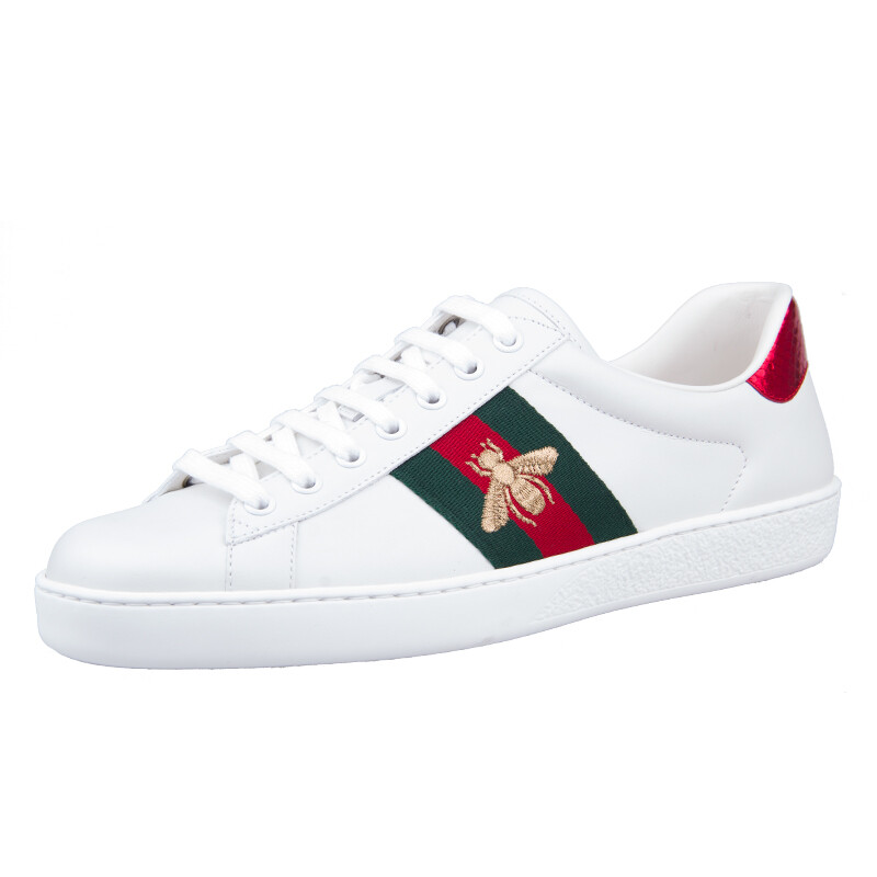 09cc79ccbbd71 GUCCI Gucci Ace series white leather bee embroidery color matching flat  shoes casual shoes men s shoes white shoes 429446 A38G0 9064 8 42 yards