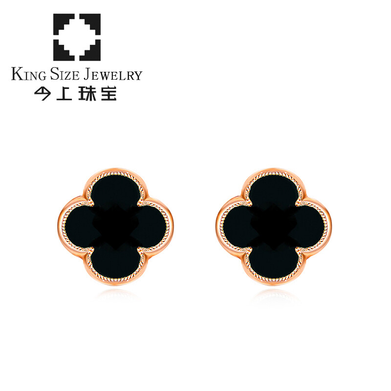 Jewelry 18k Gold Black Agate Four Leaf Clover Earrings Diamond Men And Women Rose Heart Shaped Valentine S Day