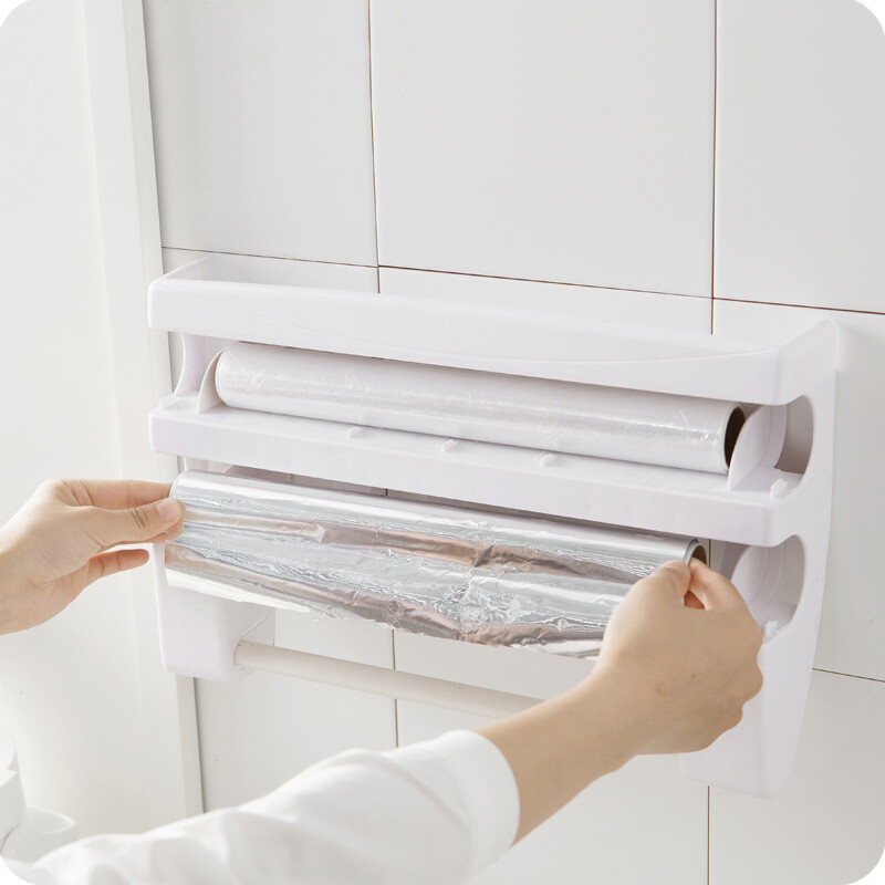 A vertical kitchen cling film storage rack with cutter aluminum foil