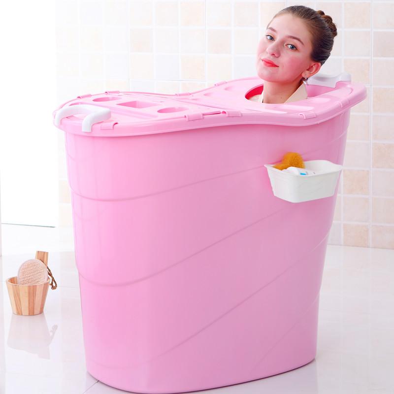 Royal aristocratic baby 2018 new baby tub adult folding with cover large bath barrel thicker plastic baby tub bath bucket home bathtub pink