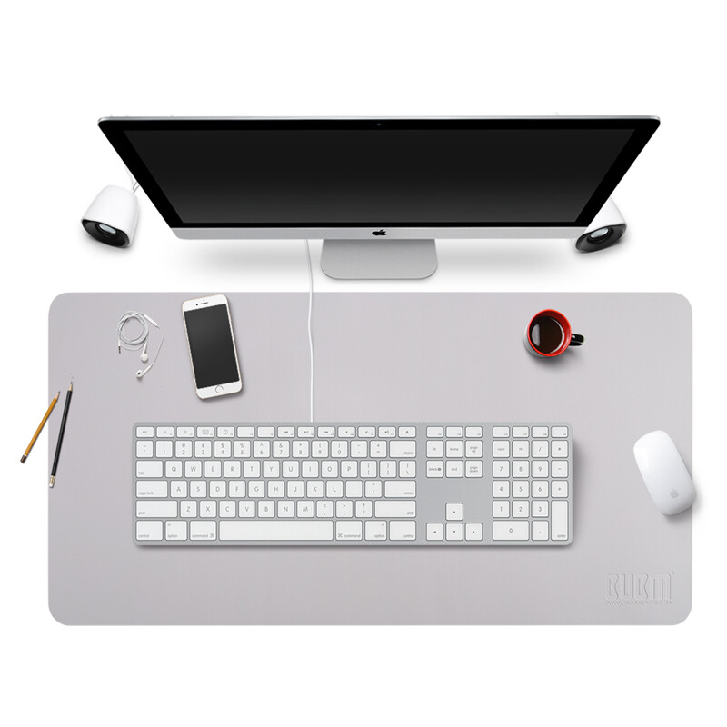 Bubm Gaming Keyboard Mouse Pad Oversized Office Desk Mat Laptop Home Large Size Waterproof Gray Metal Silver