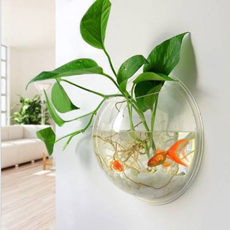 Acrylic Wall Hanging Vase Fish Tank Wall Vase Flower Pot Plexiglass