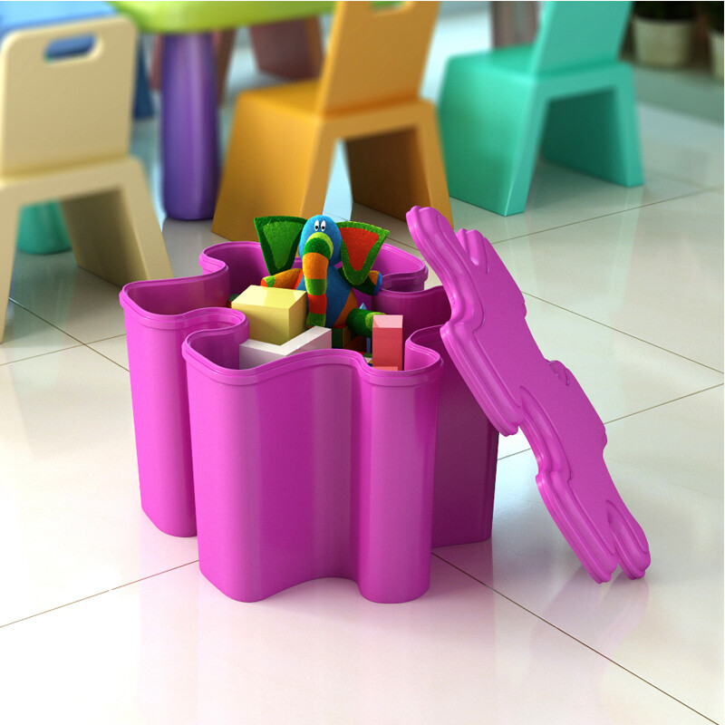 Shuaili storage box storage stool candy color PP plastic bedroom ...