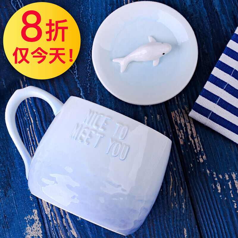 Christmas Gift Recommended Couple Ceramic Mug Sea Animal Style Handle Coffee Office Cup Breakfast Cereal Milk To Send Boyfriend