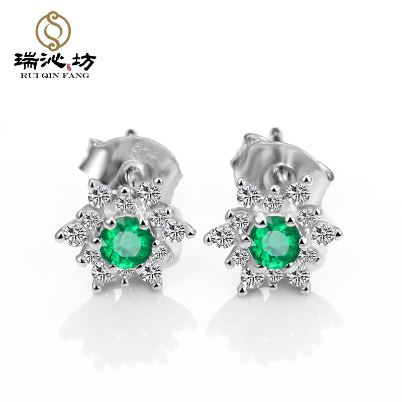 Ruiyifang Caibao Emerald 925 Silver Imitation Diamond Stud Earrings With Certificate New Las Gift Birthday