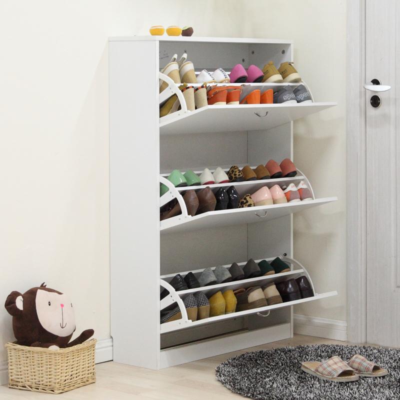 Midas Shoe Cabinet Tip Porch Three Door Simple Large Capacity Wooden Rack Storage 80cm Wide White 12816