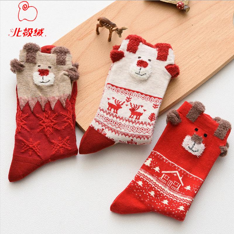 arctic velvet christmas stockings elk in stockings christmas theme red natal seasonings 3 pairs of christmas stockings stockings red - Red Velvet Christmas Stockings