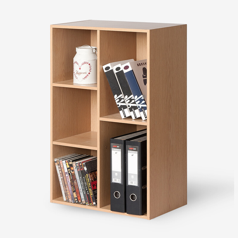 Good Things Bookcase Storage Cabinet Bookshelf Wooden Five Grid Lockers Maple Wood Color 2262