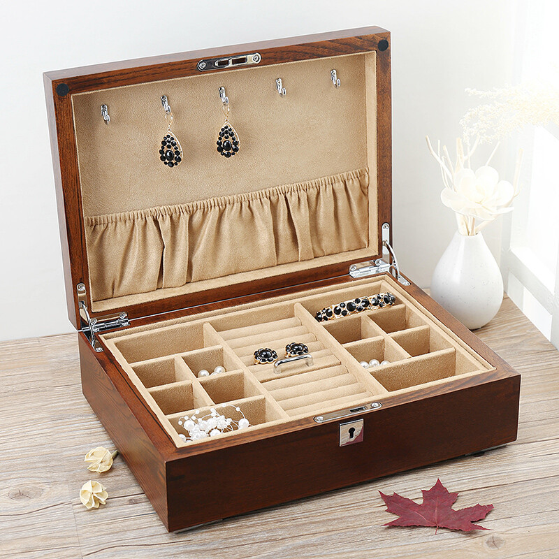 JImu 榆木 Solid Wood Double Jewellery Box Watch Box Jewelry Bracelet Storage  Display Box Box With Lock Interior Variety Of Optional Birthday Holiday  Gift ...