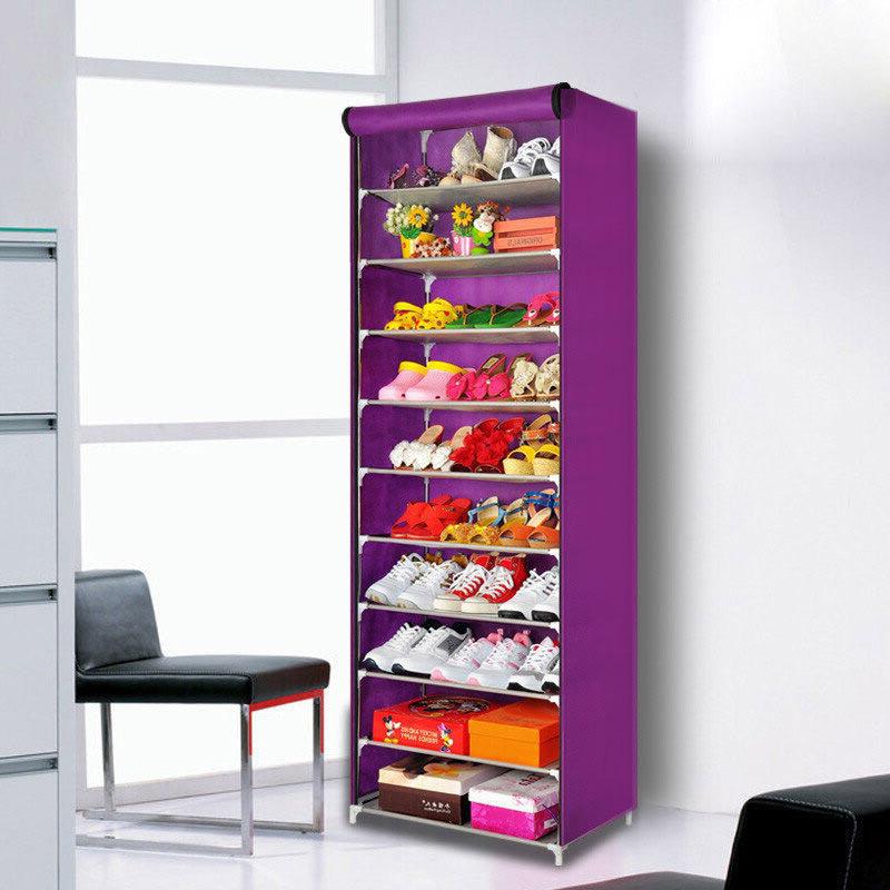 Wangjiaxing Shoe Cabinet Shoe Shelf Simple High Capacity Dustproof Boot  Cloth Cabinet Non Solid Purple
