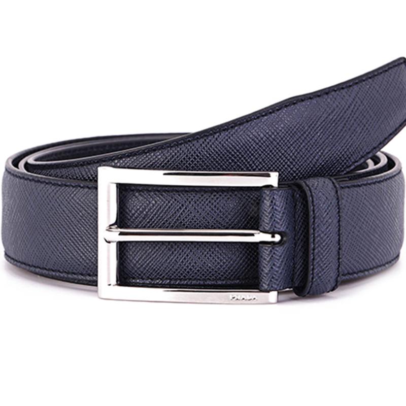 PRADA Prada men's dark blue calfskin pin buckle belt 2CC001 053 F0216 105