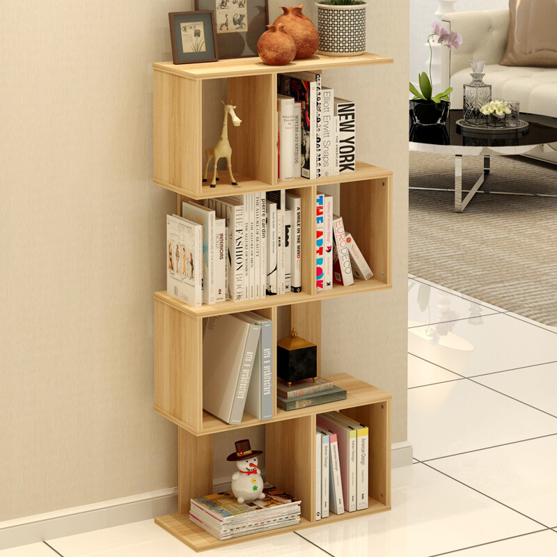 PADEN Bookcase Bookshelf Sill Shelf S Shaped Racks Student Toy Frame Four Layers Of Yellow Wood Grain Color Free Combination