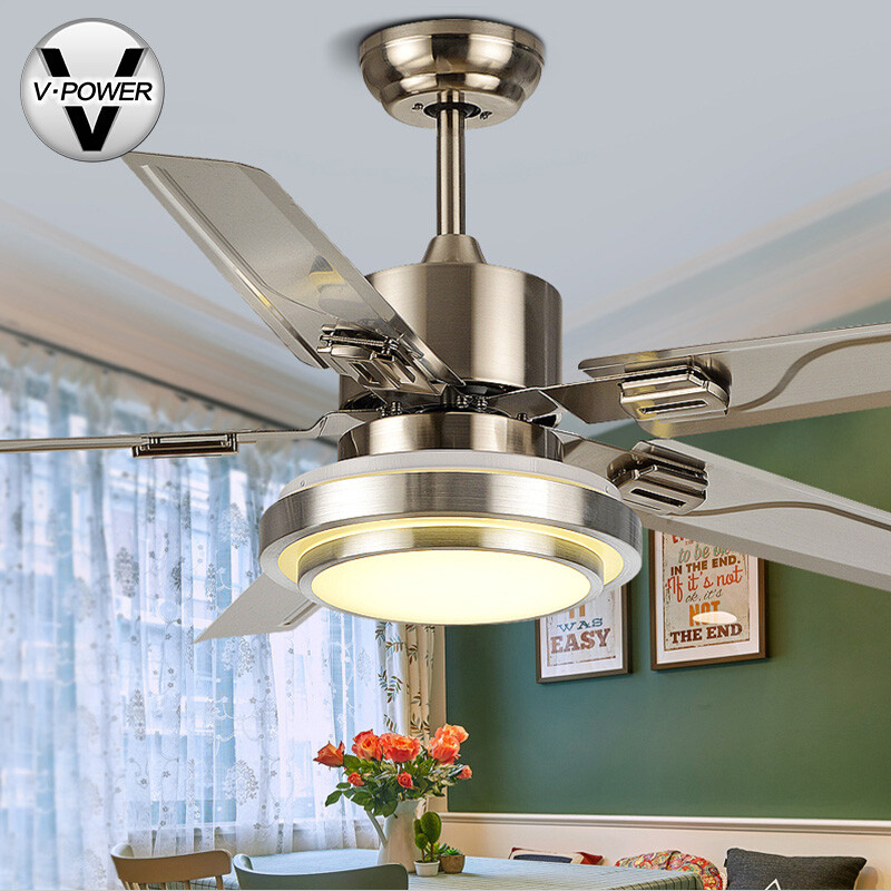 Free installation v power stainless steel ceiling fan light free installation v power stainless steel ceiling fan light restaurant fan light living room fan light simple led wood leaf fan chandelier 8650 positive mozeypictures Choice Image