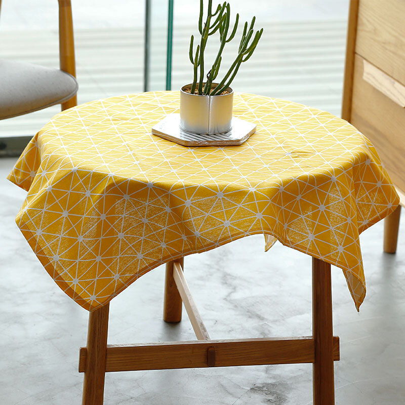 Yuan Su He Tablecloth Cotton And Linen Literary Small Fresh Table Cloth Modern Minimalist Coffee Square Mat 85 85cm