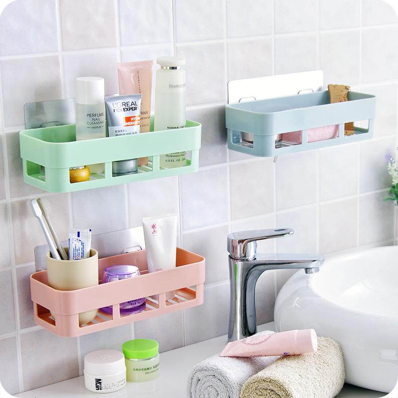 Gentil 菲 Enjoy The Bathroom Shelf Wall Hanging Bathroom Shelf Free Punching Toilet  Sink Wall Suction Cup Storage Pink + Blue + Green (three Loaded)