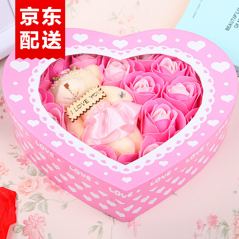 Valentines Day Gifts Birthday Creative Cute Heart Shaped Soap Roses Gift Box Flower Send Girlfriend Wife To