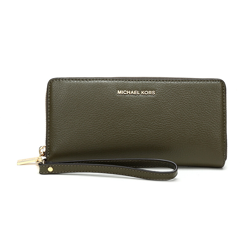 84d6540e14a3 MICHAEL KORS Mike Cos MK Wallet MERCER Olive Green Leather Clutch Bag Wallet  32F6GM9E9L OLIVE
