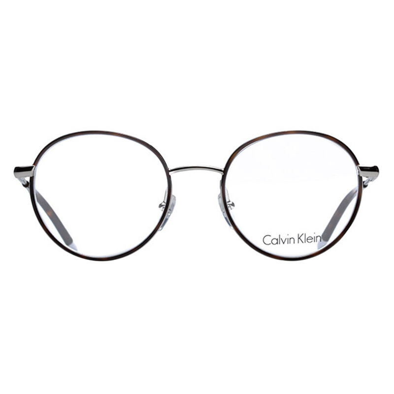 fefe8dcd76 Calvin Klein glasses frame Vintage fashion metal men s round glasses 玳瑁  silver myopia optical frame female CK5449 046 50mm