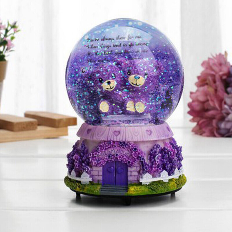 creative gifts home decoration lavender bear glowing snowflake crystal birthday gift couple gift valentines day girlfriend girlfriend girlfriend purple