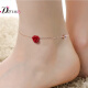 Austrian Swarovski Elements crystal bracelet female S925 silver anklets female wearing a two rose gold plated bracelet jewelry lovers to send his girlfriend to send holiday gifts S270 red roses bracelet / anklet