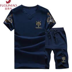 【68元 上衣+裤子】富贵鸟套装男夏季新品T恤短袖运动套装男 C07藏青色 XL