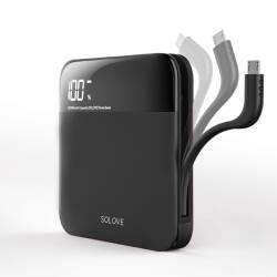 SOLOVE 10000毫安 轻薄充电宝便携自带线 苹果安卓手机通用移动电源A2 磨砂黑