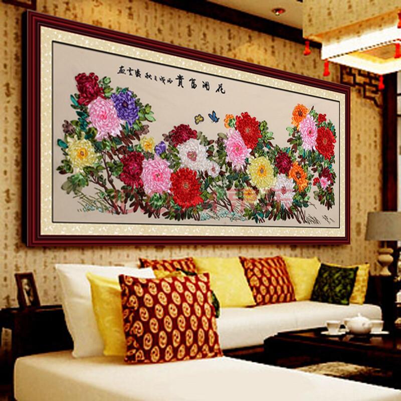 丝带绣客厅挂画_客厅丝带绣图案大全-5丝带绣图片客厅大画 丝带绣客厅挂画