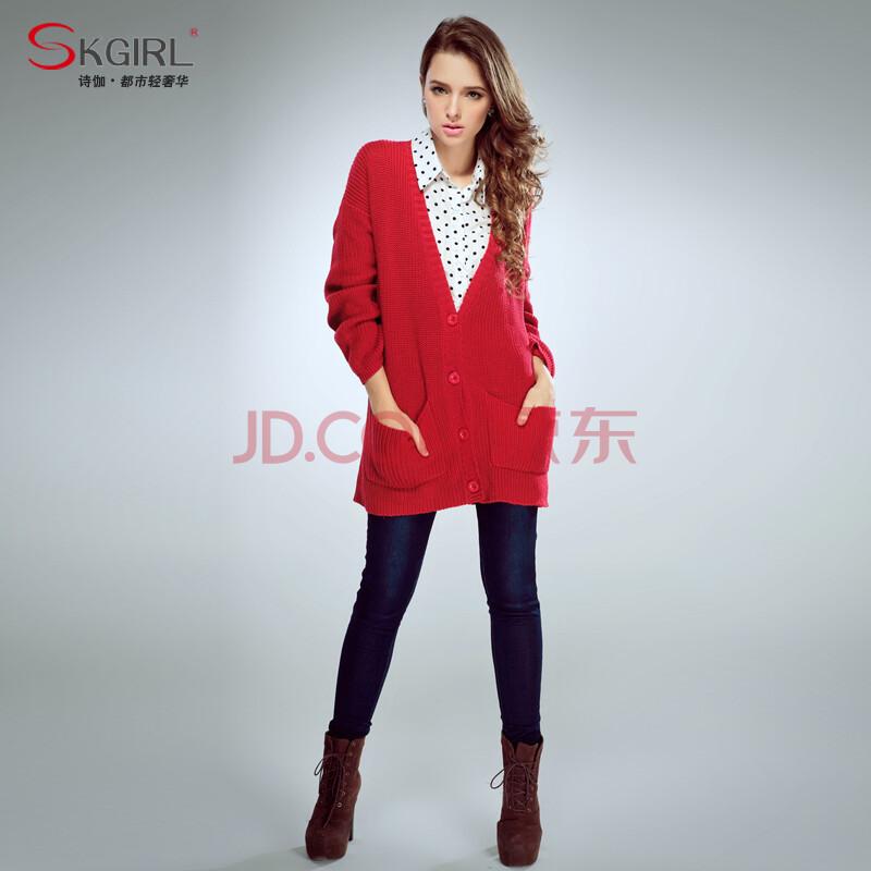 女??k`??_skgirl 2014新款秋冬装v领长袖针织衫开衫 毛衣开衫外套 女 k070