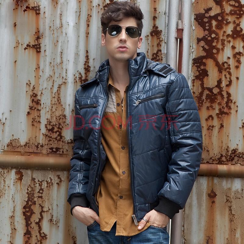 潮舒男裝 冬季新款 男士加絨加厚棉衣 保暖棉襖 韓版修身時尚立領大衣圖片