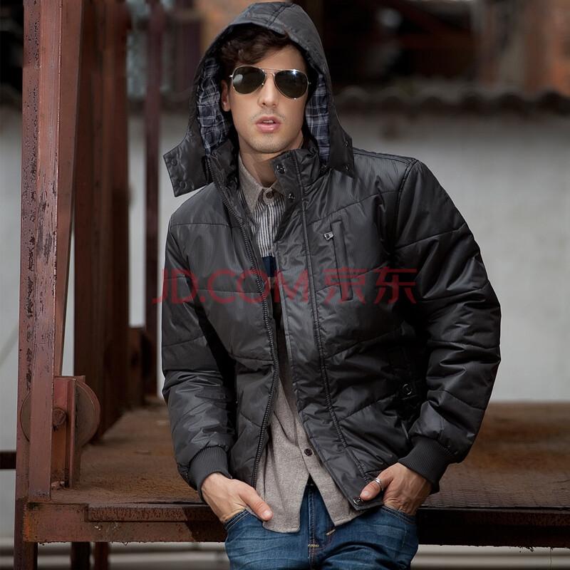 潮舒男裝 冬季新款 男士加絨加厚棉衣 保暖棉襖 韓版修身時尚連帽大衣圖片