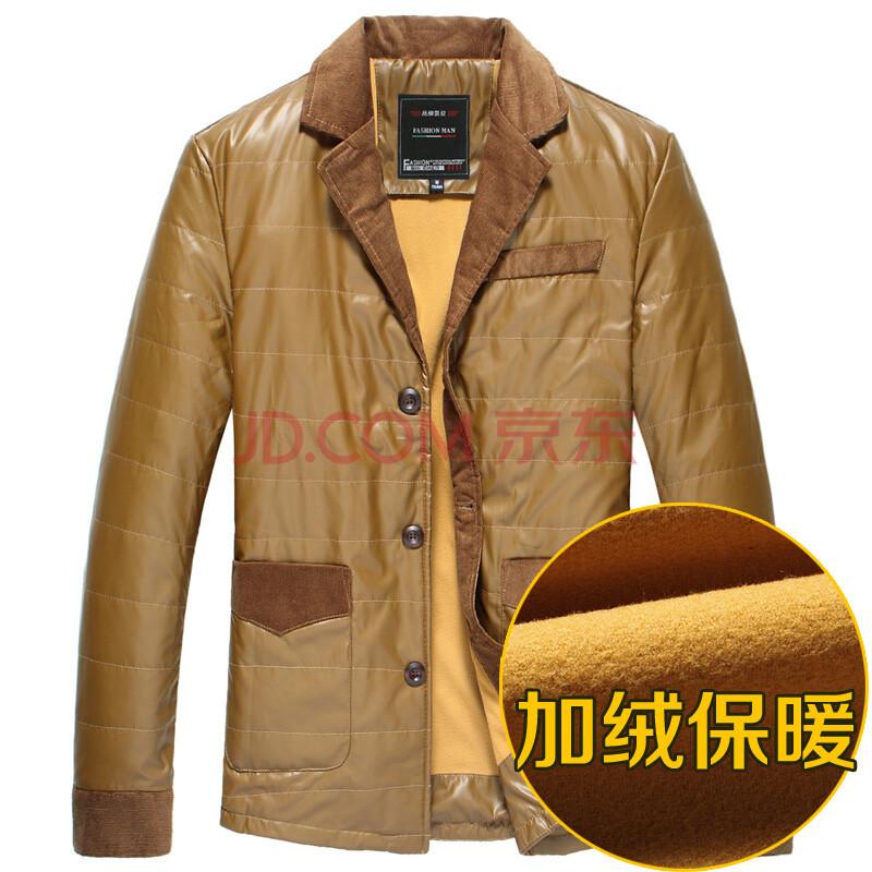 潮舒男裝 冬季新款 男士加絨加厚棉衣 韓版修身保暖棉襖棉襯衫 拼接圖片