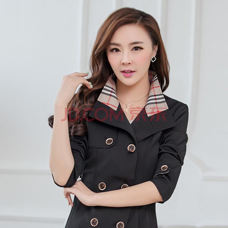 �yf�yn���#��-yol_2015春季韩版新款修身显瘦ol简约时尚风衣 长袖双排扣 女装外套 f1858