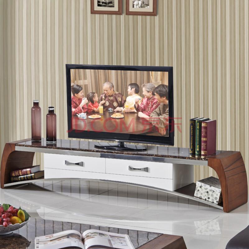 歐尚杰家具 胡桃木大理石現代簡約烤漆電視機地柜組合