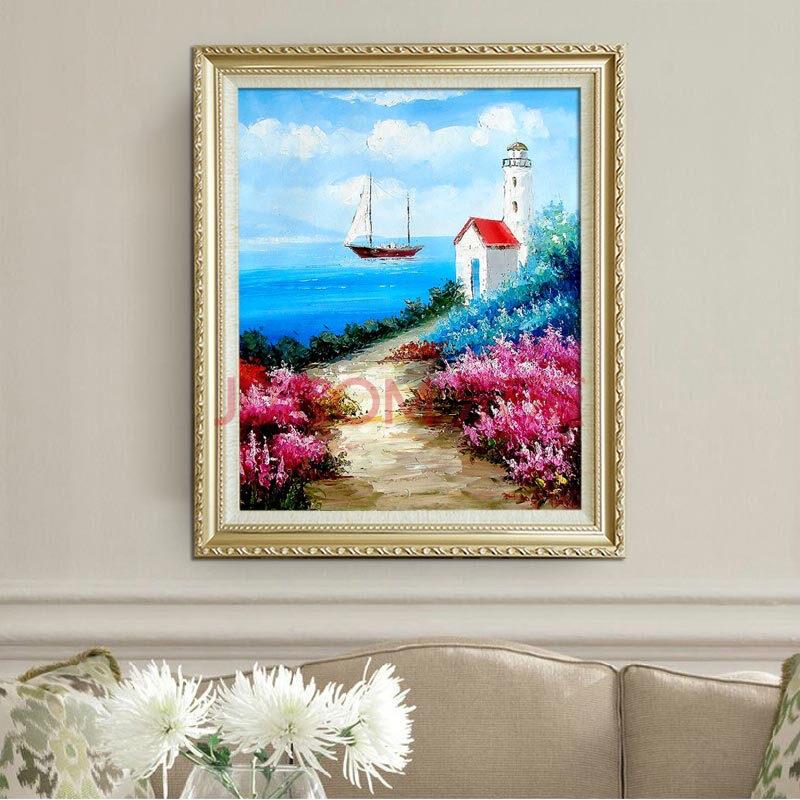 山迪 手繪油畫客廳裝飾畫餐廳掛畫壁畫歐式山水風景畫地中海 愛情海a1
