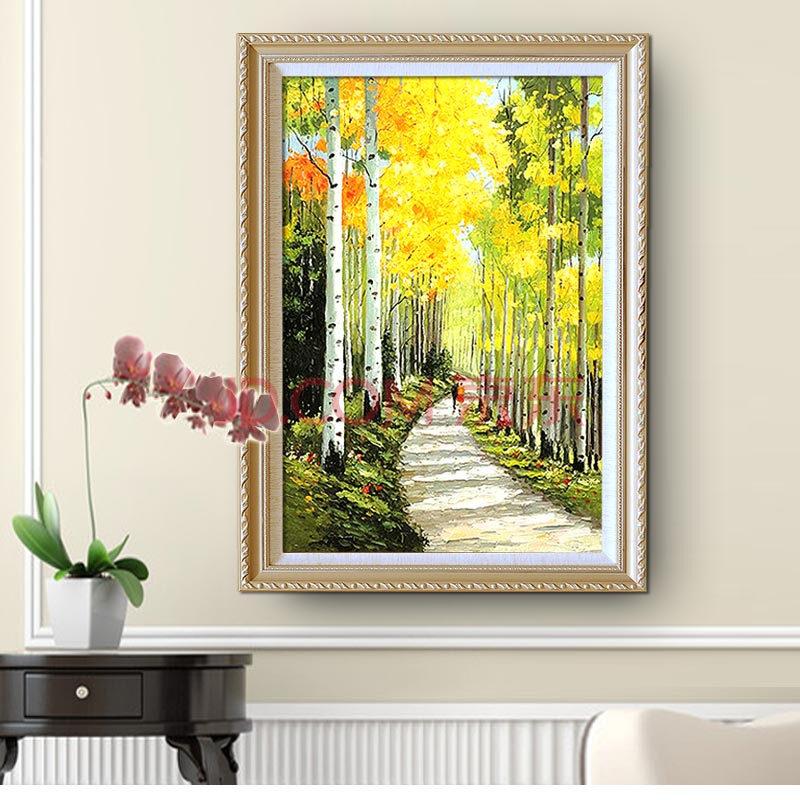 樂逸 客廳風景畫裝飾畫玄關壁畫餐廳掛畫有框歐式墻畫手繪油畫白樺林