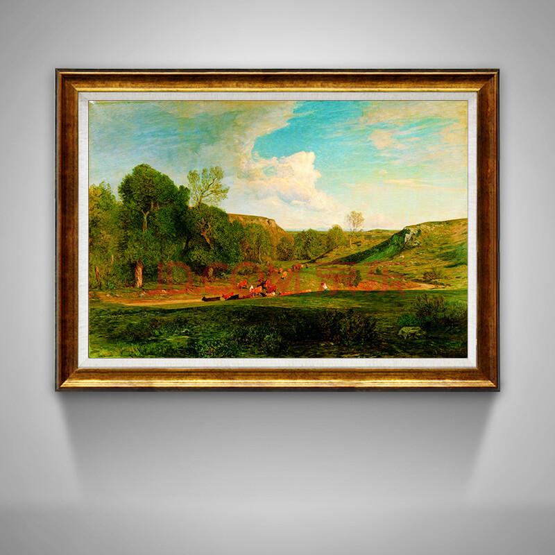 橙舍 客廳油畫掛畫 歐式美式有框畫風景畫 豐塔內西 雨后風景 餐廳