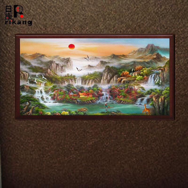 日康 手繪定制旭日東升風景客廳山水畫酒店辦公室裝飾